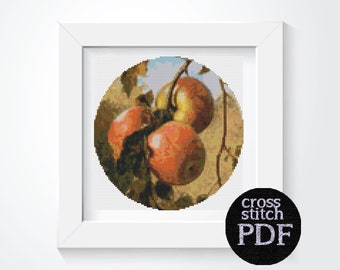 Apples Cross Stitch Pattern PDF by Thomas Worthington Wittredge, CIRCULAR Fruit Cross Stitch Chart, 7.5 x 7.5 inches