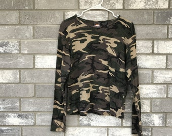 90s glitter camouflage long sleeve top