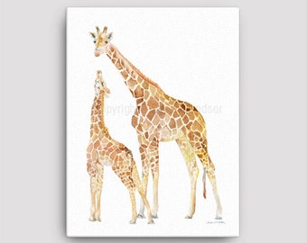 Mother and Baby Giraffes Watercolor Painting 12 x 16 Gallery Wrapped Canvas Print - Giraffe Nursery Art