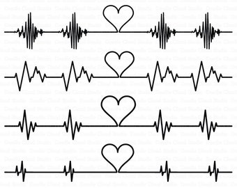 Cardio Heart SVG, Heartbeat SVG files for Silhouette Cameo and Cricut. Cardiogram heart beat  cutting files. Heart beat clipart PNG included