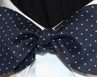 WINSTON CHURCHILL Bow Tie: Handmade, Bespoke, Men and Women's, Cotton Self Tie Style, navy, white polka dots