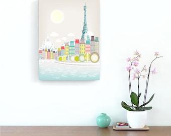 Paris bedroom art print, Eiffel Tower decor, Gift for her, Wedding gift, Anniversary gift, Travel Art, Paris skyline, Paris illustration