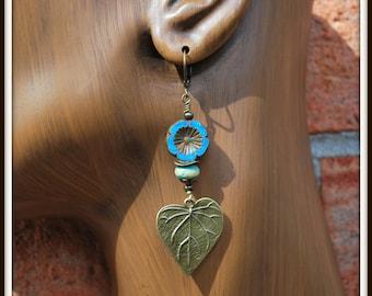 Bronze Leaf Earrings, Czech Pansy Earrings, Czech Flower Earrings, Leaf Dangle Earrings, Blue Flower Earrings