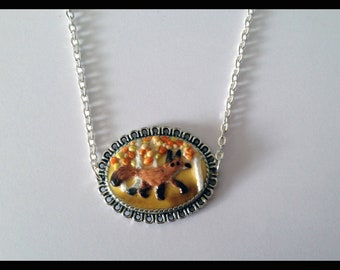 Cameo necklace - not realistic Fox - Fimo - polymer clay - Earth Day