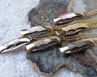 """Miniature Knife Necklace,  1 1/2 """" Working Pocket Knife Pendant Charm, Unique Necklace, Abalone, Mother of Pearl"""