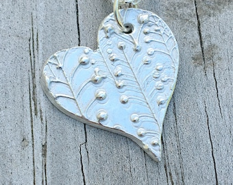 Sterling Silver Textured Free Form Heart Pendant
