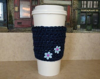 Crochet Cup Sleeve , Navy Blue Crochet Cup Cozy. Cup Cozy, Coffee Cozy, Reusable Cup Sleeve, Coffee Lover Gift, Gifts under 10,