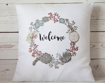 "Welcome - 16"" Cushion Pillow Cover Retro Shabby Vintage Chic Cacti/succulent lover!"