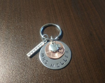 2018 Custom Stamped Teacher Appreciation Keychain- Favorite Teacher Gift - School Present - Penny Keychain Personalized Apple ruler b23 D49
