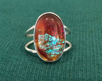 Sterling Silver and Dichroic Glass Cabochon Ring