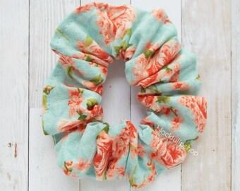 Floral Hair Scrunchies Shabby Flowers Hair Accessories Retro Roses Elastic Ties
