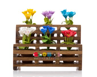 Dollhouse Miniatures Colorful Primrose Flower in Flowerpot on Wooden Shelf