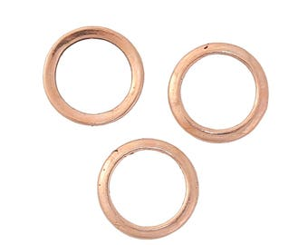 10pcs, 12mm, Zinc Based Alloy Closed Soldered Jump Rings Findings Round Rose Gold