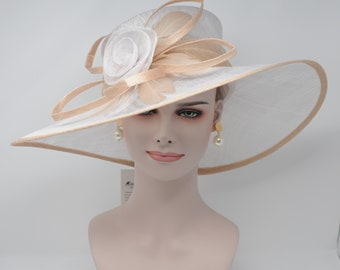 Champagne  with White Kentucky Derby Hat, Church Hat, Wedding Hat, Easter Hat, Tea Party Hat Wide Brim Woman's Sinamay Hat