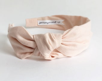 Organic cotton pink side bow Headbands for women narrow side knot headband Women's Fabric Headband topknot bow Adult headband women & girls