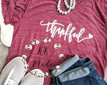 Thankful shirt, grateful thankful blessed, Thanksgiving shirt, cute fall shirt, blessed mama shirt, women's fall shirt, grateful shirt