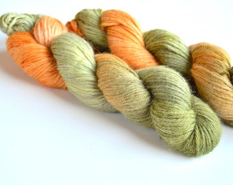 100% Baby Alpaca Yarn-SOFT Small Batch Luxury Hand Dyed Yarn |Sage Garden