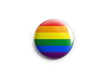 """Gay & Lesbian Pride button, magnet, Rainbow flag, 1.25"""" pinback button, pin, badge, LGBT pride, queer pride badge"""
