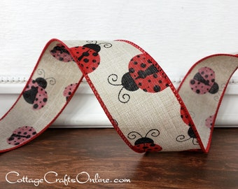 "Wired Ribbon 1 1/2"" Red Lady Bugs on Tan  - TEN YARD ROLL -  ""Ladybug Linen"" Spring, Summer Craft  Wire Edged Ribbon"