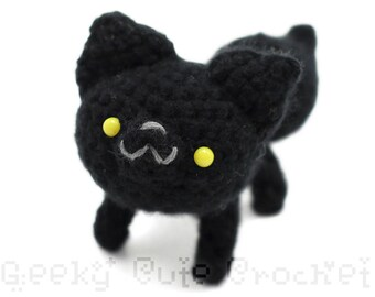 Black Wolf Plush Toy Animal Amigurumi Crochet Stuffie