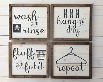 Laundry Room Decor Set of Four Signs | Farmhouse Wall Decor | Rustic Laundry Signs | Painted Wood Signs | Laundry Room Collection