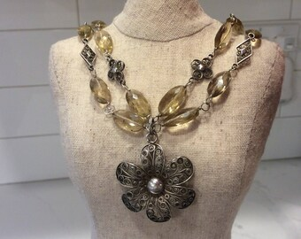 Vintage Sterling and 800 silver filigree smoky topaz necklace with flower pendant