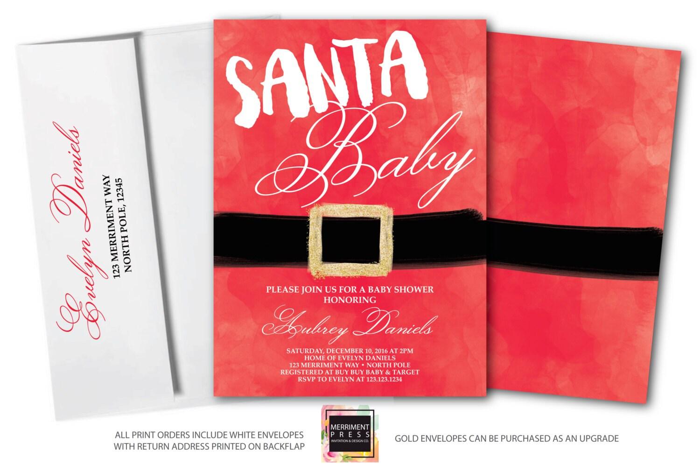 Santa Baby Shower Invitation // Christmas Baby Shower Invitation ...
