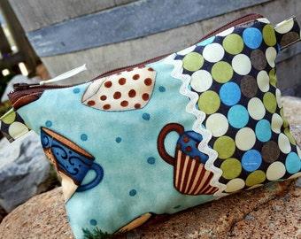 Tea Cup Cosmetic Bag, Polka Dot Makeup Bag, Zipper Bag, Clutch