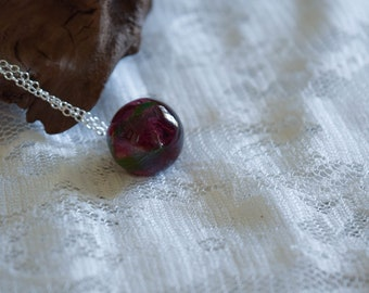 Dark Red Real Rose Small orb Necklace