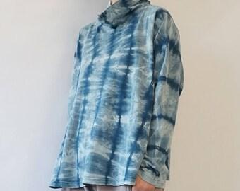 Hand-Dyed Shibori Drop Shouder Hemp Jersey Top-Shibori Turtle Neck Hemp Jersey Top