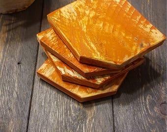 Orange You Glad You Met Me Raw Wood Coasters