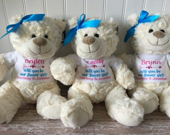 Flower girl personalized teddy bear // plush stuffed animal // will you be our flower girl