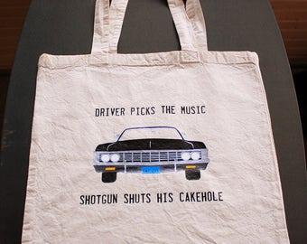 Driver Picks the Music Shotgun Shuts His Cakehole Tote Bag - Small Bag - Vinyl Letters - Natural