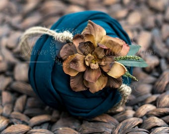 teal  jersey cotton wrap and  headband, brown flower headband, dark teal photo prop wrap, bamboo stretchy cotton wrap