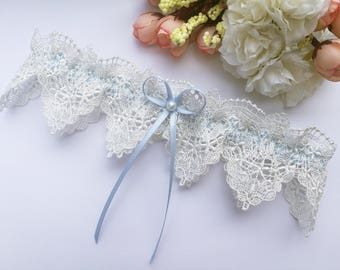 Something blue wedding garter, garter for wedding, blue garter, pearl garter, venise lace garter, blue bridal garter, ivory garter