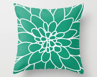 Dahlia Flower pillow with insert Cover - Modern Home Decor - By Aldari Home - Emerald Green and White Flower pillow with insert