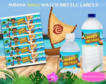 Maui Water Bottle Labels - Maui Party - Moana Party Supplies - Moana Birthday - Maui Birthday - Maui Party Supplies - Instant Download