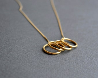 Orbit Circles Necklace | Gold Circles Necklace | Minimalist Pendant Necklace | Gold Circle Necklace