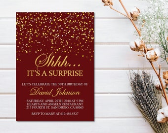 Shhh It's a Surprise Burgundy Birthday Invitation/Printable Gold & Red Birthday Invitation Template/Maroon e-card/30th/40th/50th/60th/70/80