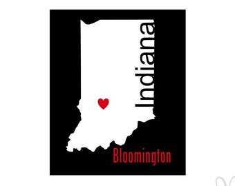 Bloomington Indiana State Silhouette with Heart - Instant Download File - svg / jpg / Studio3 / PDF