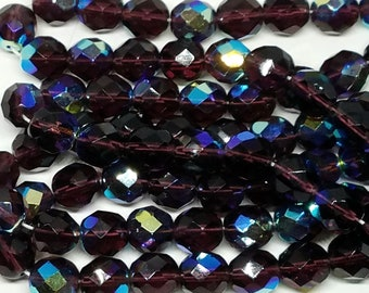 Vintage Plum Purple AB Iridescent Faceted Glass Beads