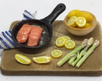 1/12 scale dolls house salmon preparation board