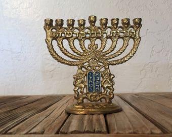 Vintage Brass Metal Menorah