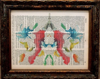 Rorschach Ink Blot 10 Art Print on Dictionary Book Page