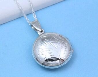 Sterling silver lockets Necklace -Round locket necklace- Heirloom -Rounded Locket Necklace, Circular lockets, grandmother locket. R-8