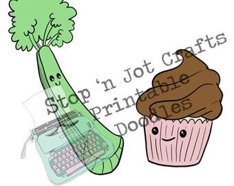 Broccoli and Cupcake : Love is Love Valentine Clip Art