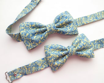 Yellow Blue Floral Bow Tie