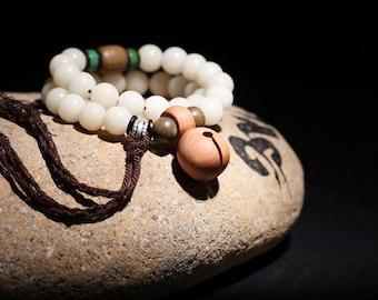 natural bodhi seed plant seed peach wood  knocker/purified & blessed mala/Tibetan Buddhism Meditation yoga prayer beads mala beaded bracelet