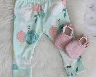 Floral Baby Leggings, Baby Leggings, Floral baby pants, Pink Baby Leggings, baby pants, Floral Baby Leggings, baby girl pants, toddler pants