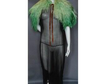 Vintage 1920s/20s 1930s/30s Green Ostrich Feather CAPE/CAPELET Flapper Boudoir